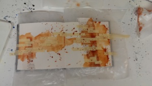 Step three:  A splashy layer of Daniel Smith quin burnt orange.